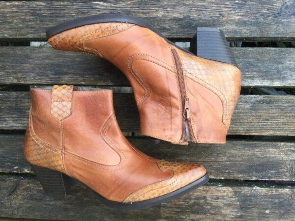 Bruna westernboots läder spanska boots